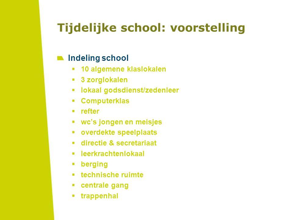Tijdelijke school: voorstelling Indeling school  10 algemene klaslokalen  3 zorglokalen  lokaal godsdienst/zedenleer  Computerklas  refter  wc's