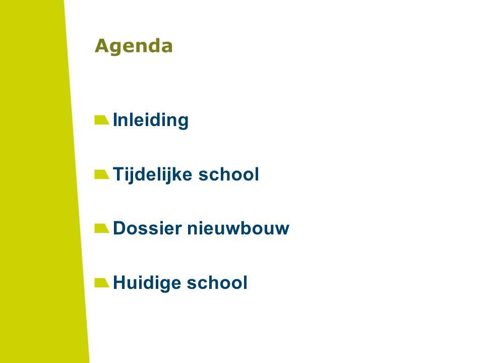 Agenda Inleiding Tijdelijke school Dossier nieuwbouw Huidige school