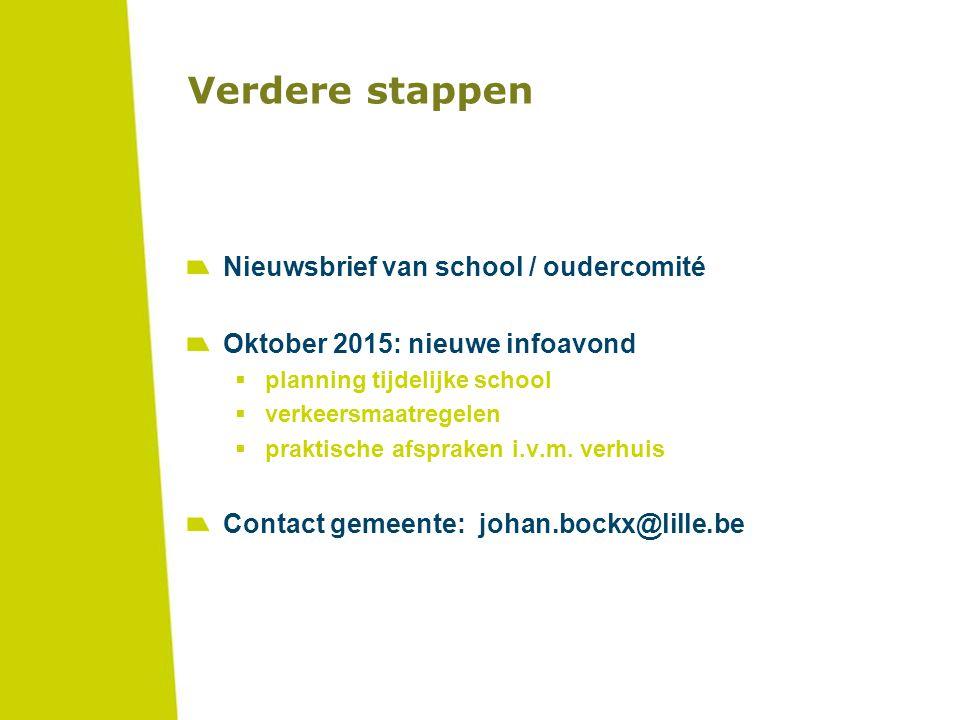 Verdere stappen Nieuwsbrief van school / oudercomité Oktober 2015: nieuwe infoavond  planning tijdelijke school  verkeersmaatregelen  praktische af