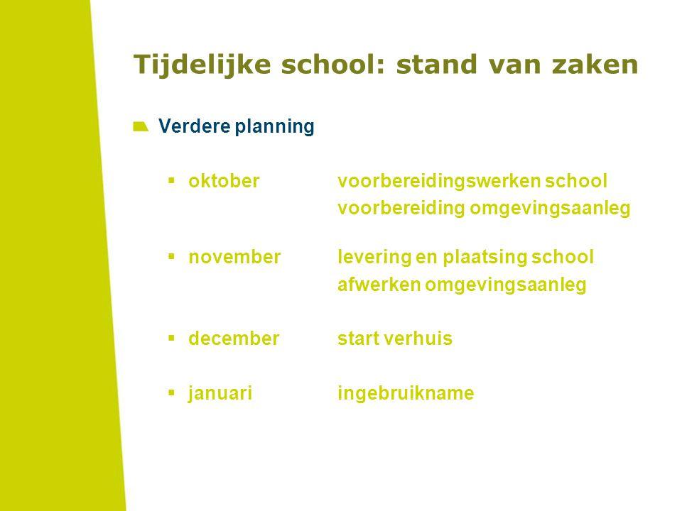 Tijdelijke school: stand van zaken Verdere planning  oktobervoorbereidingswerken school voorbereiding omgevingsaanleg  novemberlevering en plaatsing