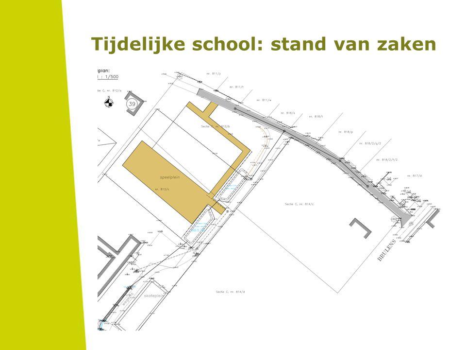 Verdere stappen Nieuwsbrief van school / oudercomité Oktober 2015: nieuwe infoavond  planning tijdelijke school  verkeersmaatregelen  praktische afspraken i.v.m.