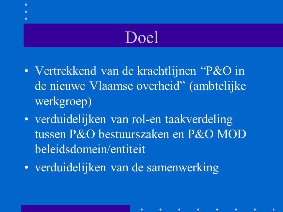 """Doel Vertrekkend van de krachtlijnen """"P&O in de nieuwe Vlaamse overheid"""" (ambtelijke werkgroep) verduidelijken van rol-en taakverdeling tussen P&O bes"""