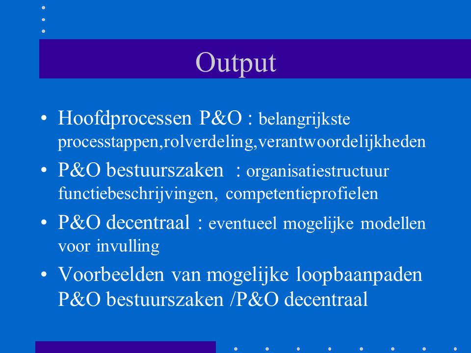 Output Hoofdprocessen P&O : belangrijkste processtappen,rolverdeling,verantwoordelijkheden P&O bestuurszaken : organisatiestructuur functiebeschrijvin