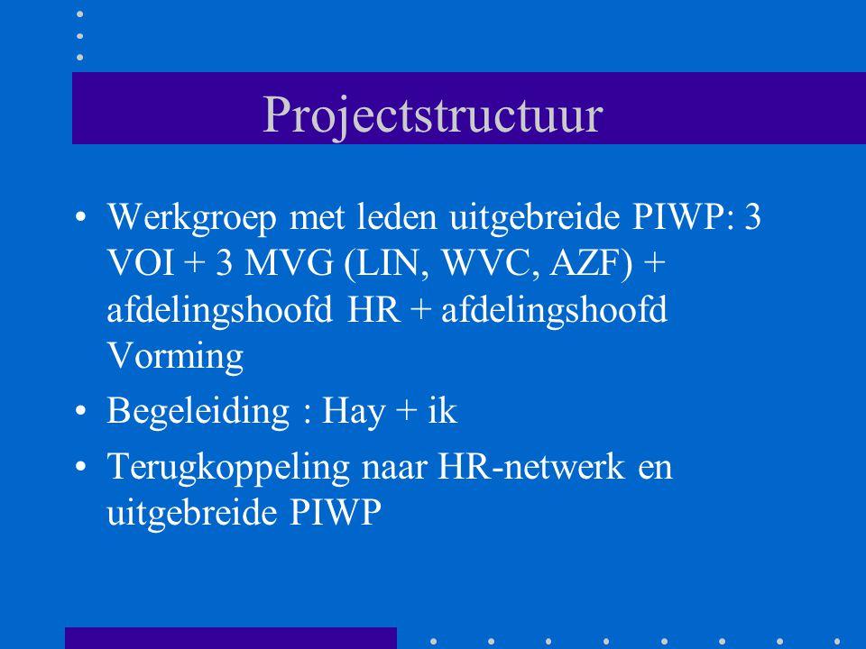 Projectstructuur Werkgroep met leden uitgebreide PIWP: 3 VOI + 3 MVG (LIN, WVC, AZF) + afdelingshoofd HR + afdelingshoofd Vorming Begeleiding : Hay +