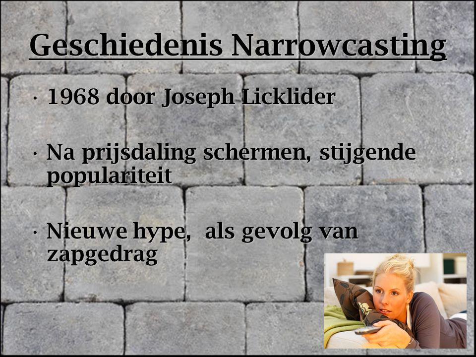 Geschiedenis Narrowcasting 1968 door Joseph Licklider1968 door Joseph Licklider Na prijsdaling schermen, stijgende populariteitNa prijsdaling schermen