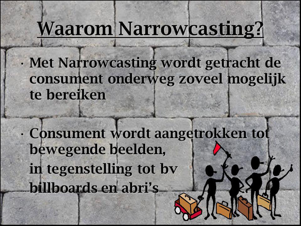 Waarom Narrowcasting? Met Narrowcasting wordt getracht de consument onderweg zoveel mogelijk te bereikenMet Narrowcasting wordt getracht de consument
