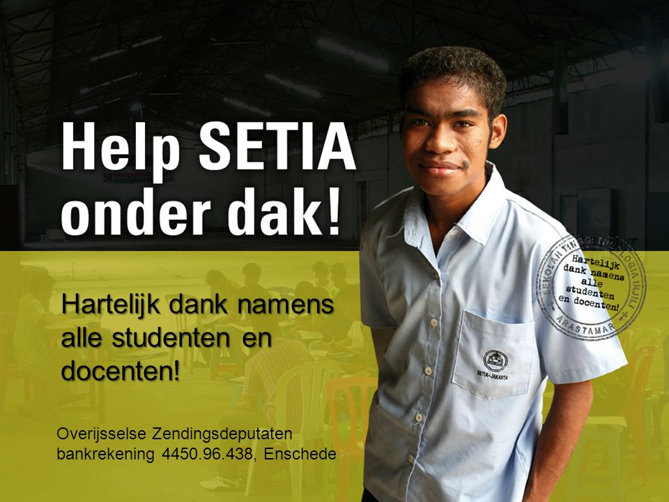 Helpt u mee. Vandaag is er een deurcollecte voor SETIA.