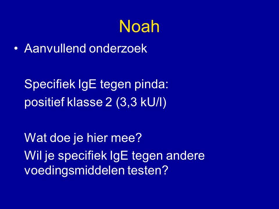 Noah Aanvullend onderzoek Specifiek IgE tegen pinda: positief klasse 2 (3,3 kU/l) Wat doe je hier mee? Wil je specifiek IgE tegen andere voedingsmidde