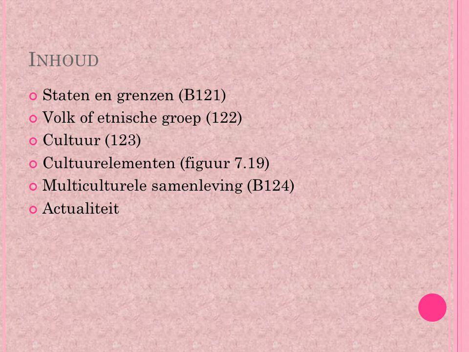 I NHOUD Staten en grenzen (B121) Volk of etnische groep (122) Cultuur (123) Cultuurelementen (figuur 7.19) Multiculturele samenleving (B124) Actualite