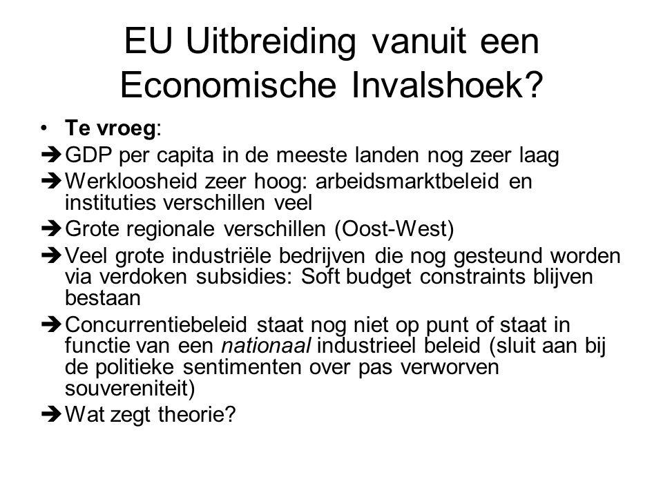 Economisch Denken over EU Uitbreiding Drie aanpassingsmechanismen:  Migratie  Toename in Handel (handelsoverschot)  Buitenlandse Directe Investeringen