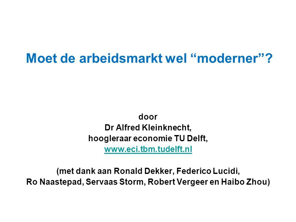 """Moet de arbeidsmarkt wel """"moderner""""? door Dr Alfred Kleinknecht, hoogleraar economie TU Delft, www.eci.tbm.tudelft.nl (met dank aan Ronald Dekker, Fed"""