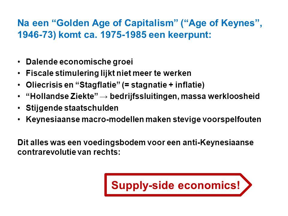 """Na een """"Golden Age of Capitalism"""" (""""Age of Keynes"""", 1946-73) komt ca. 1975-1985 een keerpunt: Dalende economische groei Fiscale stimulering lijkt niet"""