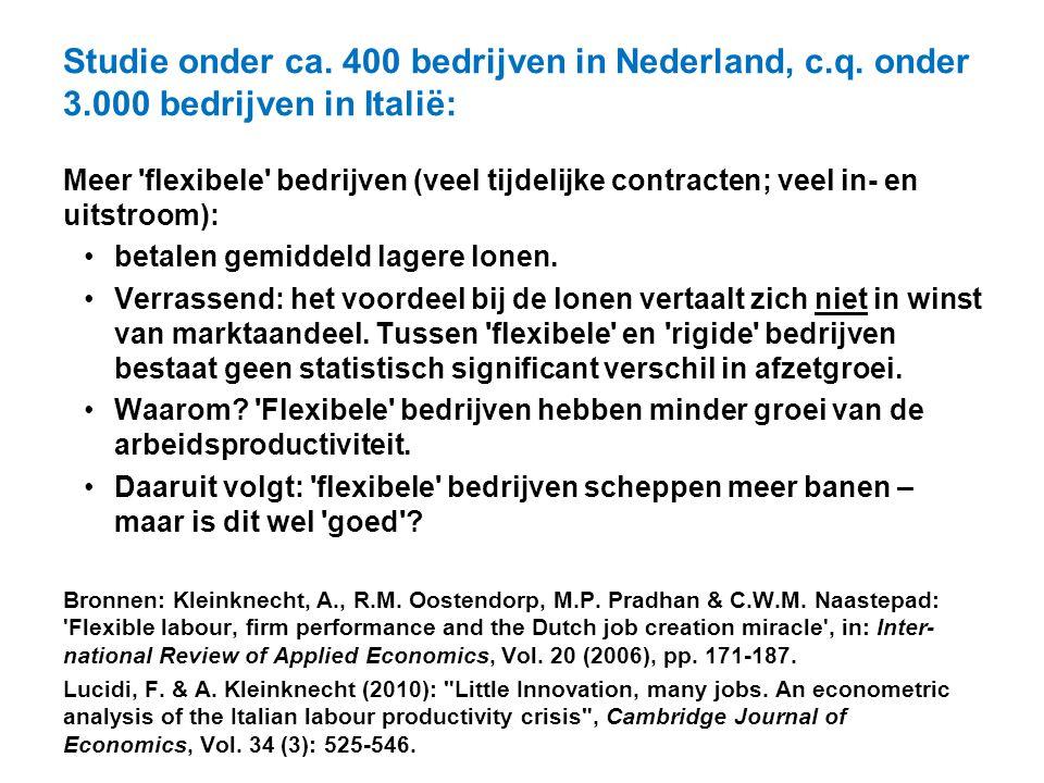 Studie onder ca. 400 bedrijven in Nederland, c.q. onder 3.000 bedrijven in Italië: Meer 'flexibele' bedrijven (veel tijdelijke contracten; veel in- en