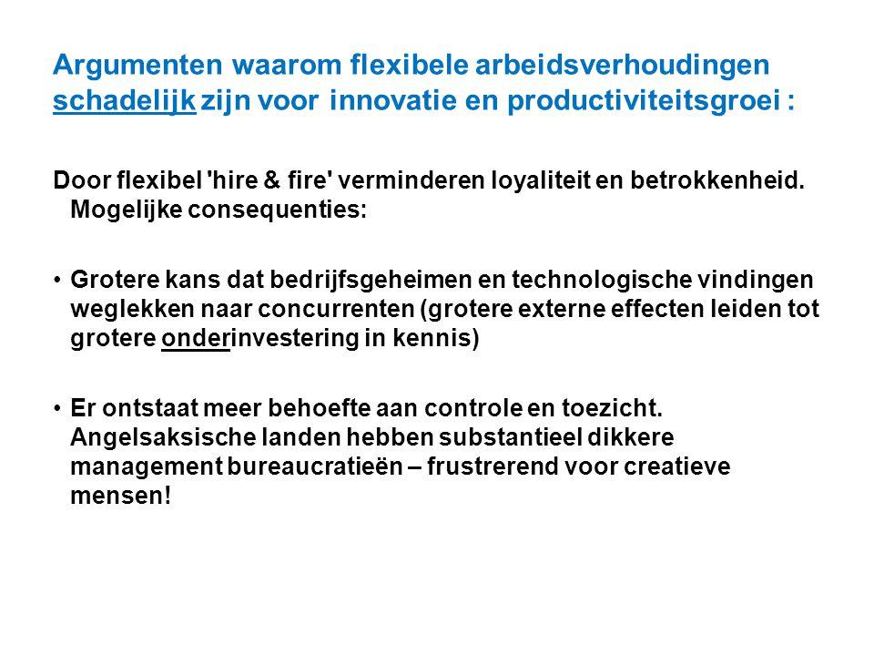 Argumenten waarom flexibele arbeidsverhoudingen schadelijk zijn voor innovatie en productiviteitsgroei : Door flexibel 'hire & fire' verminderen loyal