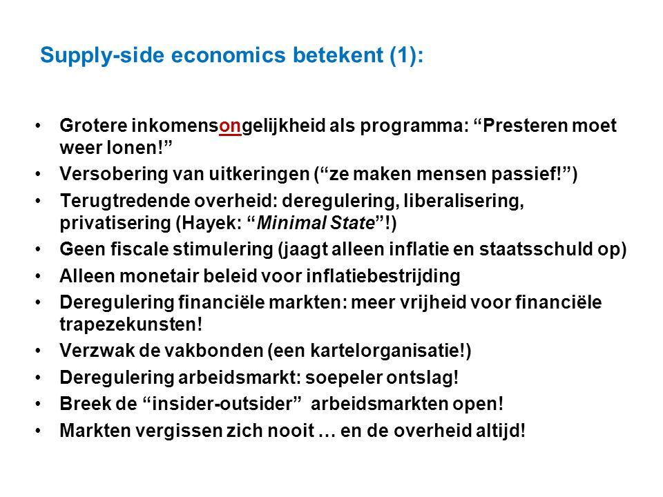 """Supply-side economics betekent (1): Grotere inkomensongelijkheid als programma: """"Presteren moet weer lonen!"""" Versobering van uitkeringen (""""ze maken me"""