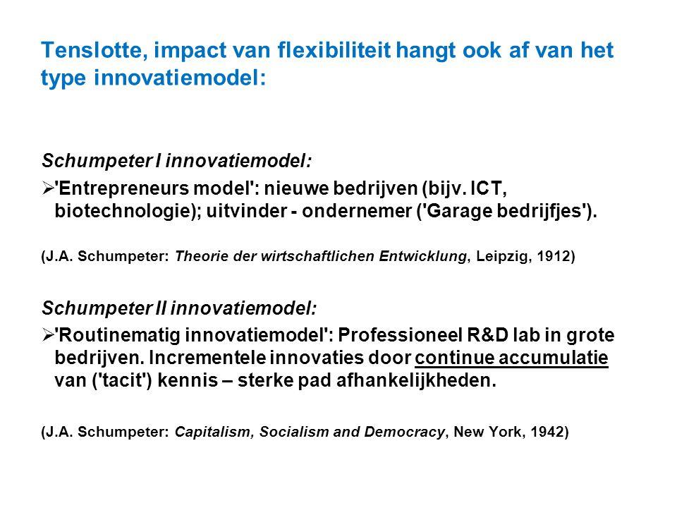 Tenslotte, impact van flexibiliteit hangt ook af van het type innovatiemodel: Schumpeter I innovatiemodel:  'Entrepreneurs model': nieuwe bedrijven (