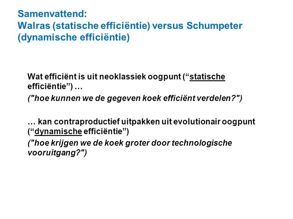 """Samenvattend: Walras (statische efficiëntie) versus Schumpeter (dynamische efficiëntie) Wat efficiënt is uit neoklassiek oogpunt (""""statische efficiënt"""