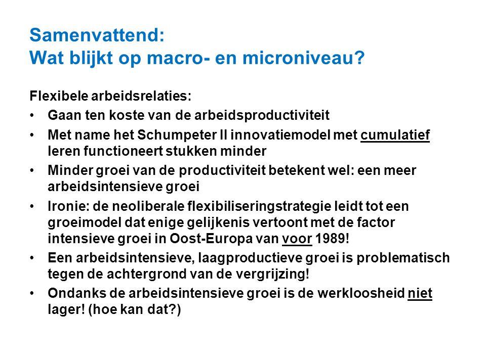 Samenvattend: Wat blijkt op macro- en microniveau? Flexibele arbeidsrelaties: Gaan ten koste van de arbeidsproductiviteit Met name het Schumpeter II i