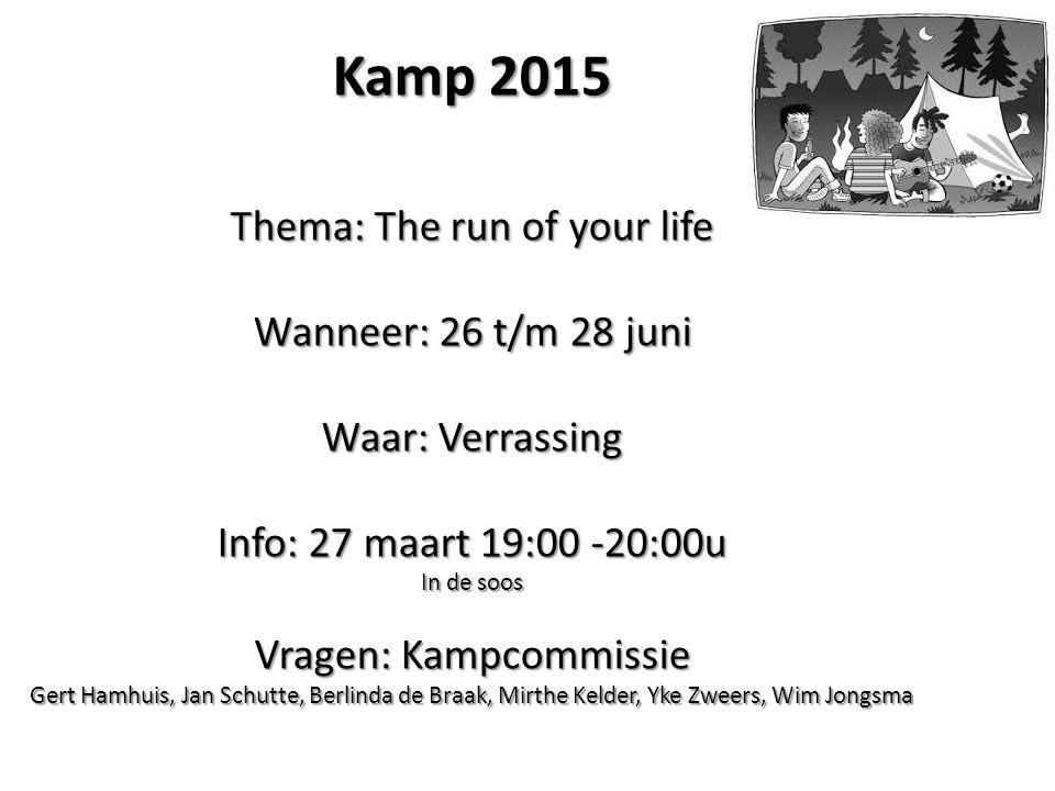 Kamp 2015 Thema: The run of your life Wanneer: 26 t/m 28 juni Waar: Verrassing Info: 27 maart 19:00 -20:00u In de soos Vragen: Kampcommissie Gert Hamh