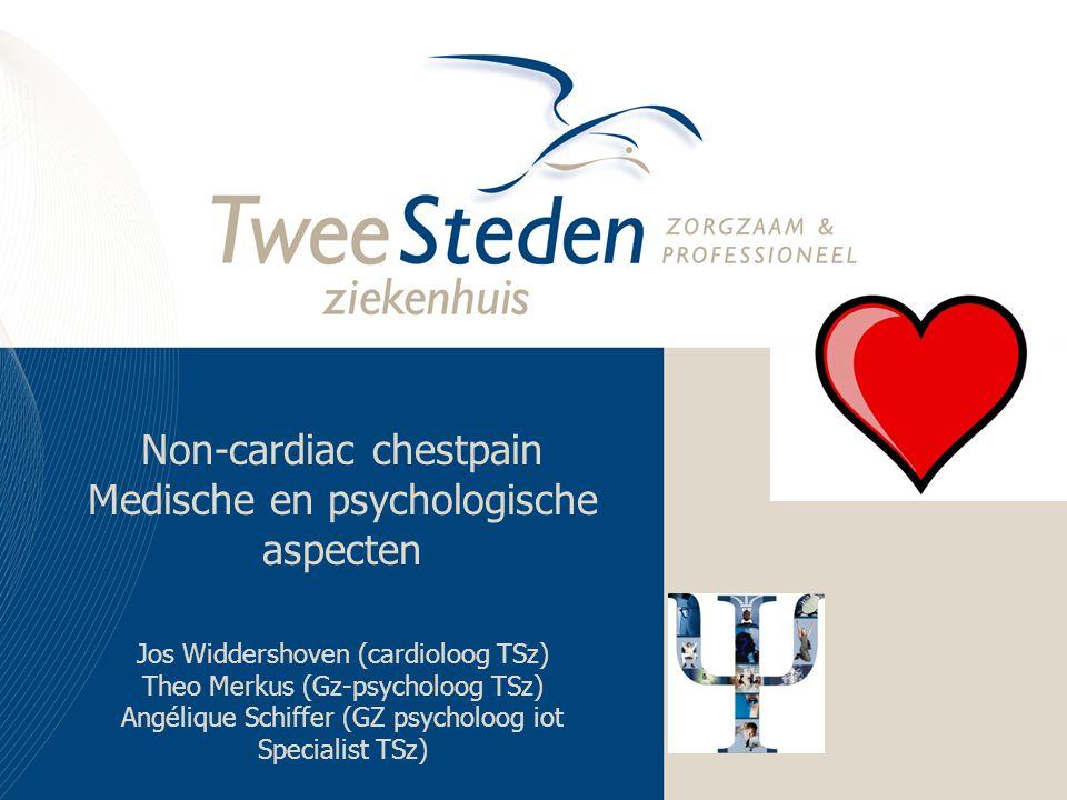 Non-cardiac chestpain Medische en psychologische aspecten Jos Widdershoven (cardioloog TSz) Theo Merkus (Gz-psycholoog TSz) Angélique Schiffer (GZ psy