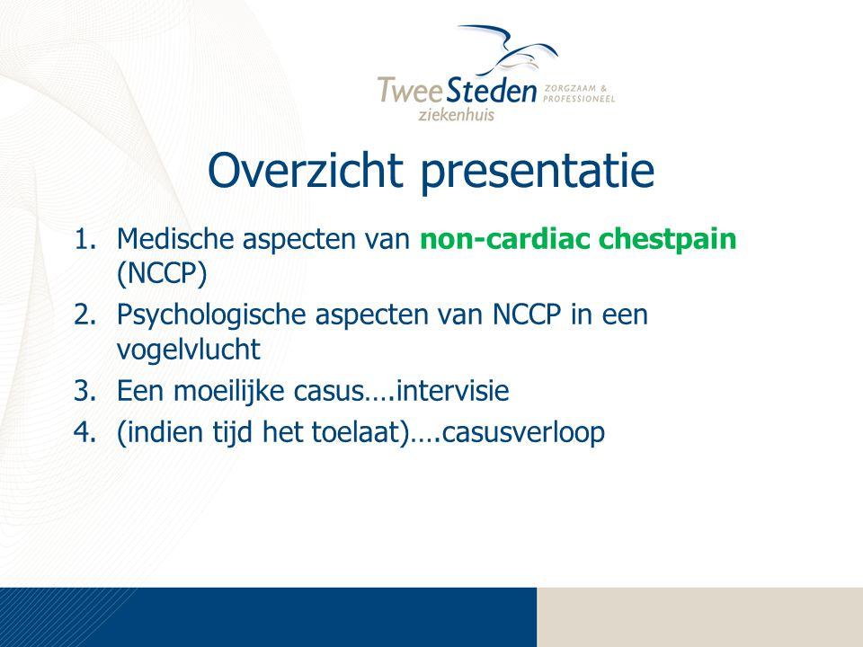 Overzicht presentatie 1.Medische aspecten van non-cardiac chestpain (NCCP) 2.Psychologische aspecten van NCCP in een vogelvlucht 3.Een moeilijke casus