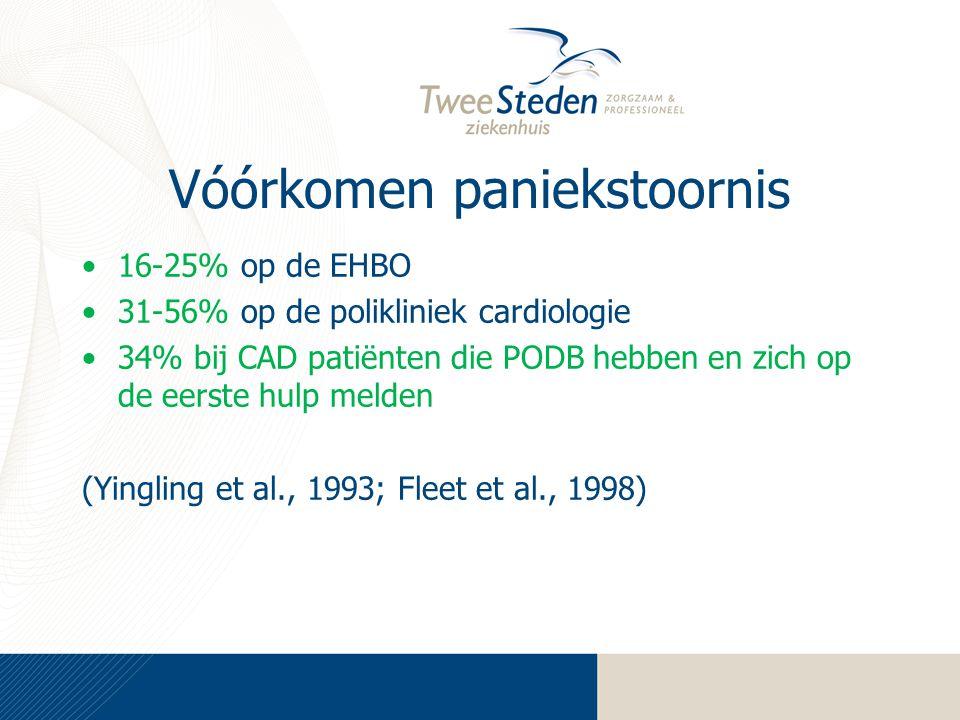 Vóórkomen paniekstoornis 16-25% op de EHBO 31-56% op de polikliniek cardiologie 34% bij CAD patiënten die PODB hebben en zich op de eerste hulp melden (Yingling et al., 1993; Fleet et al., 1998)