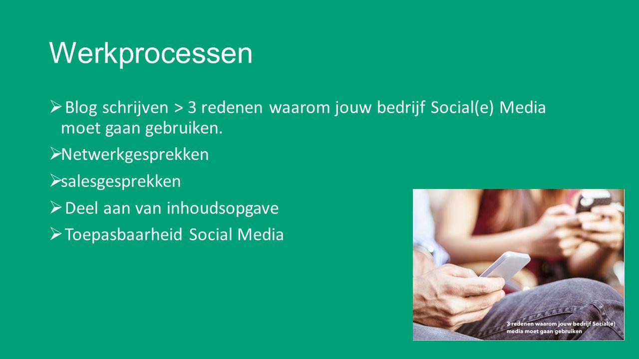 Werkprocessen  Blog schrijven > 3 redenen waarom jouw bedrijf Social(e) Media moet gaan gebruiken.