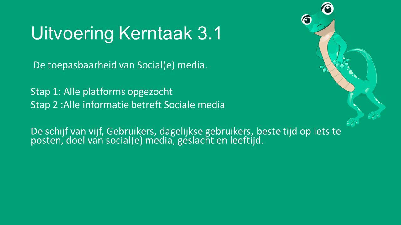 Uitvoering Kerntaak 3.1 De toepasbaarheid van Social(e) media.
