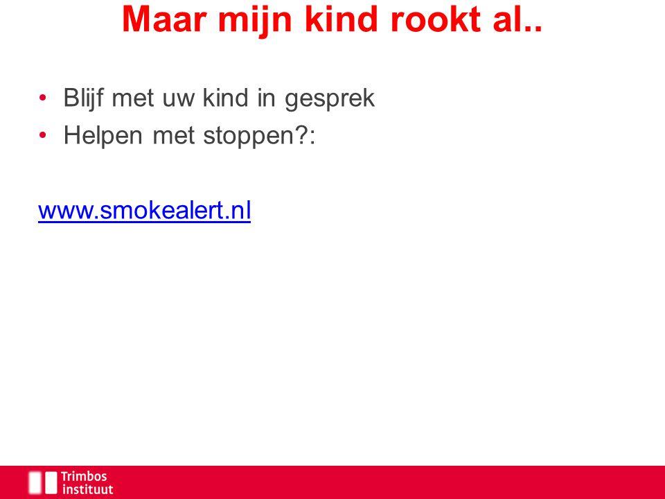 Blijf met uw kind in gesprek Helpen met stoppen?: www.smokealert.nl Maar mijn kind rookt al..