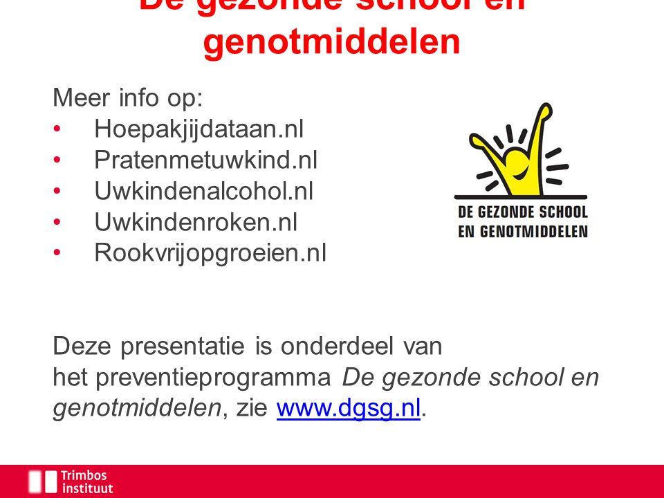 Meer info op: Hoepakjijdataan.nl Pratenmetuwkind.nl Uwkindenalcohol.nl Uwkindenroken.nl Rookvrijopgroeien.nl Deze presentatie is onderdeel van het pre