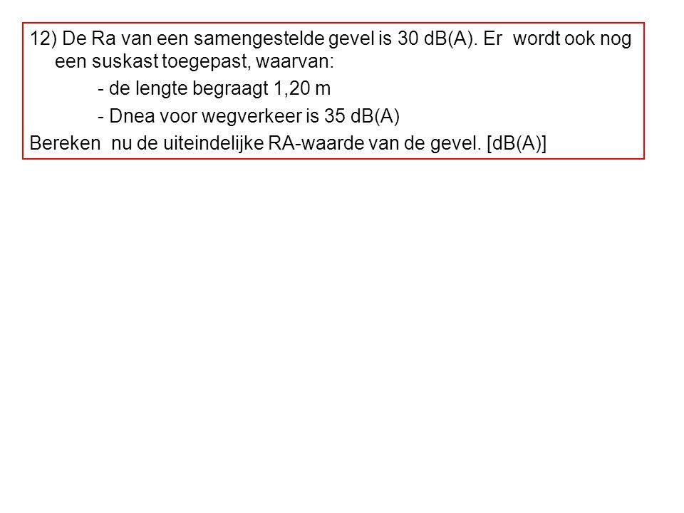 12) De Ra van een samengestelde gevel is 30 dB(A). Er wordt ook nog een suskast toegepast, waarvan: - de lengte begraagt 1,20 m - Dnea voor wegverkeer