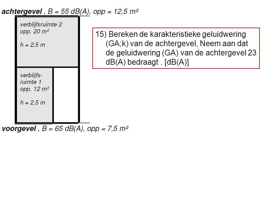 15) Bereken de karakteristieke geluidwering (GA;k) van de achtergevel, Neem aan dat de geluidwering (GA) van de achtergevel 23 dB(A) bedraagt. [dB(A)]