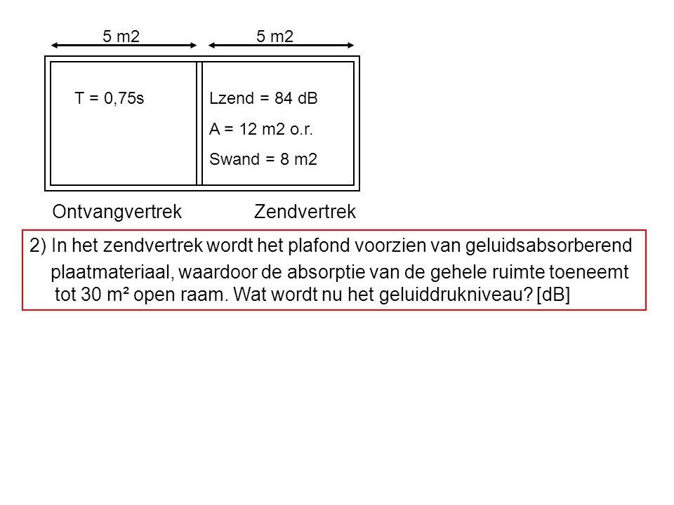 OntvangvertrekZendvertrek T = 0,75sLzend = 84 dB A = 12 m2 o.r. Swand = 8 m2 5 m2 2) In het zendvertrek wordt het plafond voorzien van geluidsabsorber