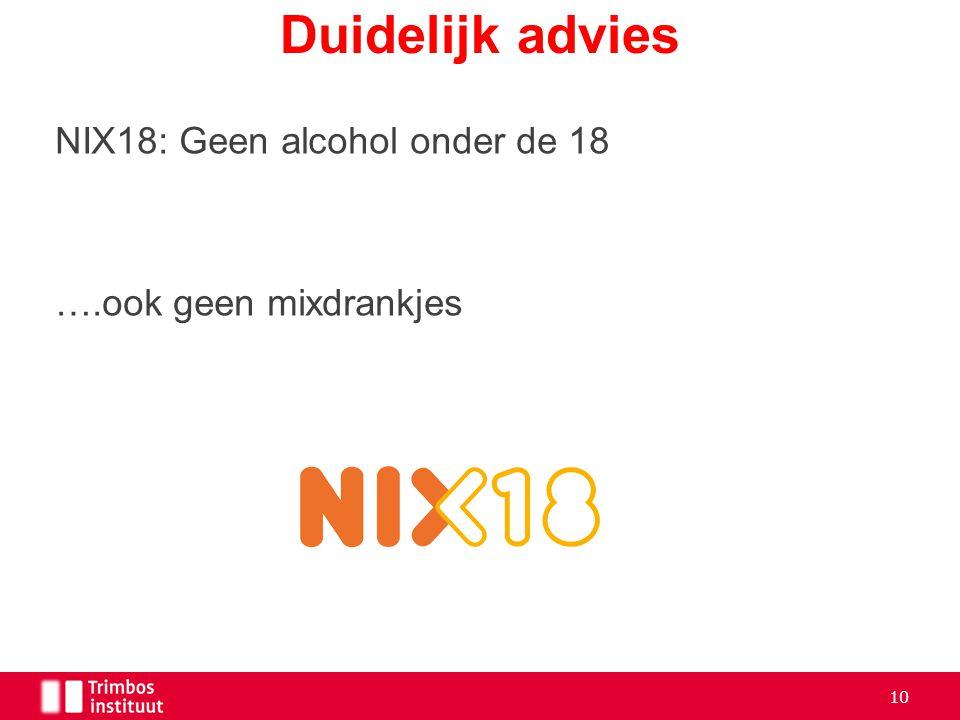 NIX18: Geen alcohol onder de 18 ….ook geen mixdrankjes Duidelijk advies 10