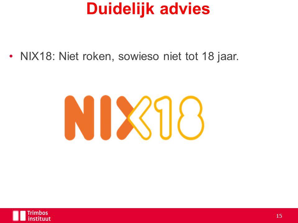 NIX18: Niet roken, sowieso niet tot 18 jaar. Duidelijk advies 15
