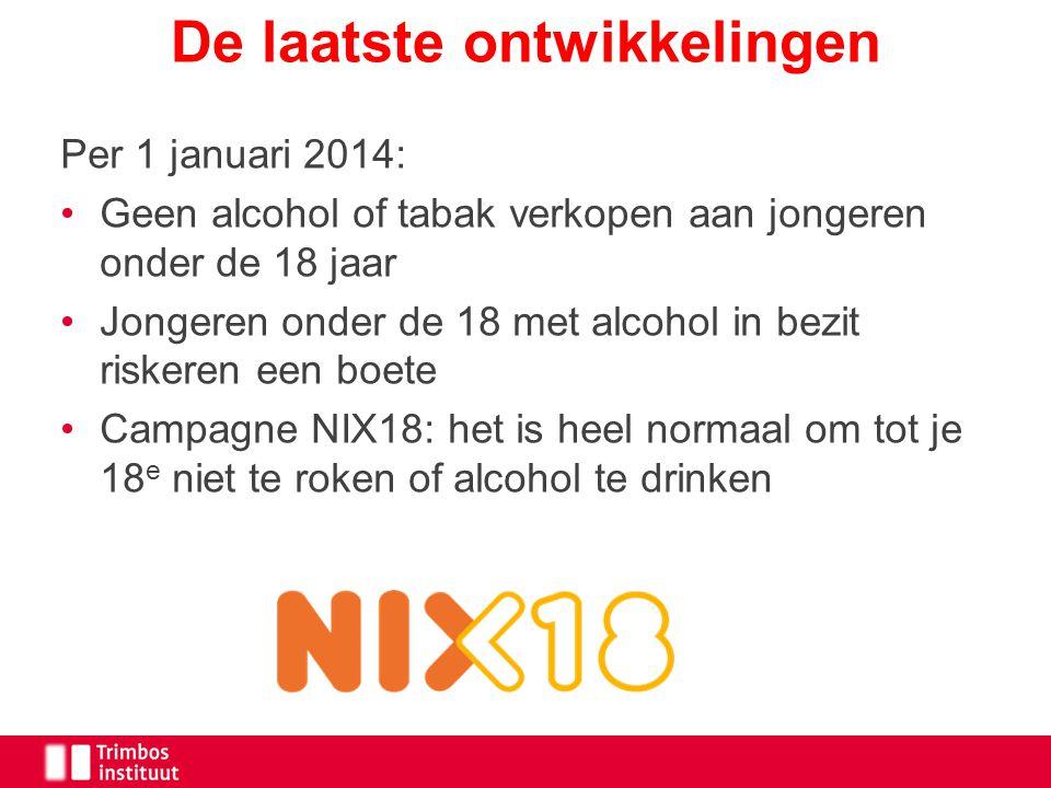 Per 1 januari 2014: Geen alcohol of tabak verkopen aan jongeren onder de 18 jaar Jongeren onder de 18 met alcohol in bezit riskeren een boete Campagne