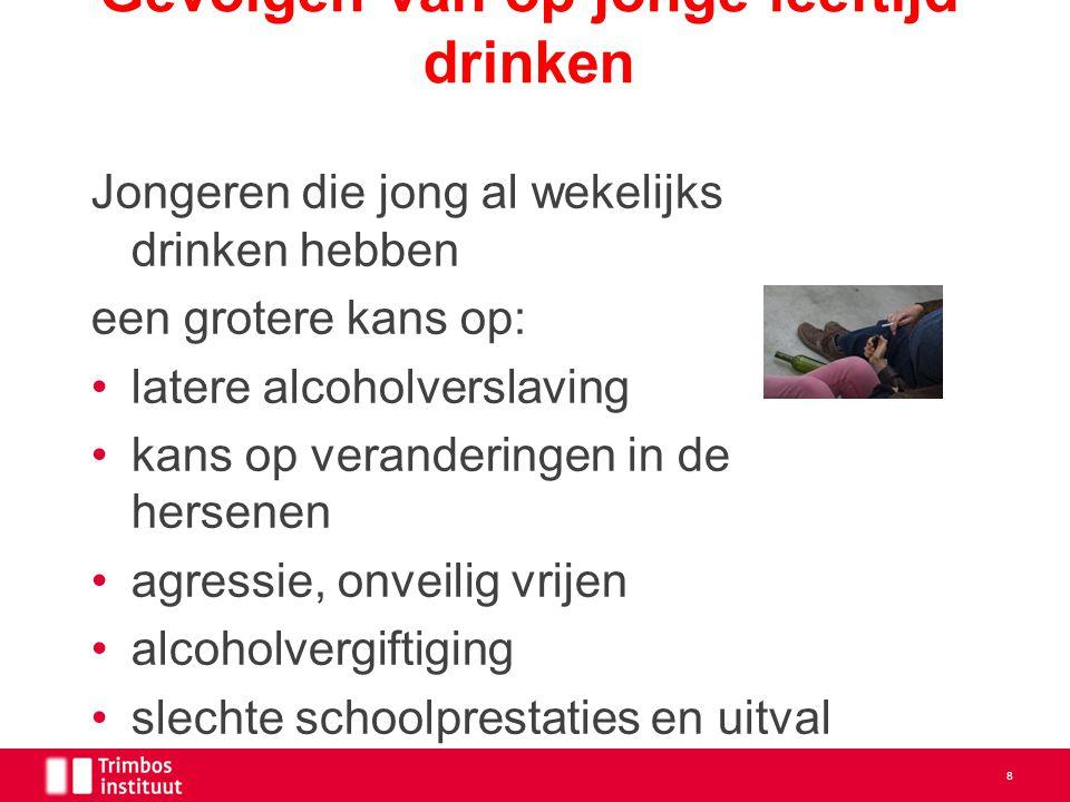 Gevolgen van op jonge leeftijd drinken Jongeren die jong al wekelijks drinken hebben een grotere kans op: latere alcoholverslaving kans op verandering