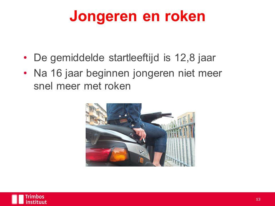 De gemiddelde startleeftijd is 12,8 jaar Na 16 jaar beginnen jongeren niet meer snel meer met roken Jongeren en roken 13