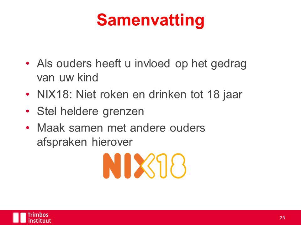 Als ouders heeft u invloed op het gedrag van uw kind NIX18: Niet roken en drinken tot 18 jaar Stel heldere grenzen Maak samen met andere ouders afspra