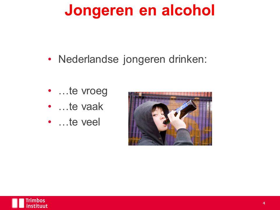 Nederlandse jongeren drinken: …te vroeg …te vaak …te veel Jongeren en alcohol 4