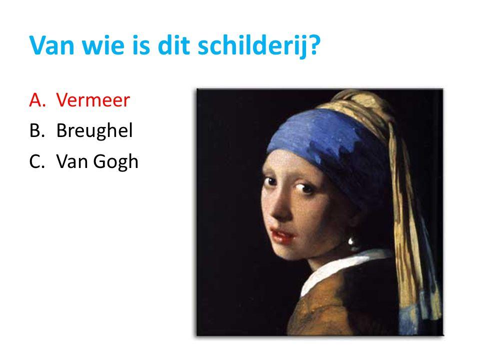Van wie is dit schilderij? A.Vermeer B.Breughel C.Van Gogh
