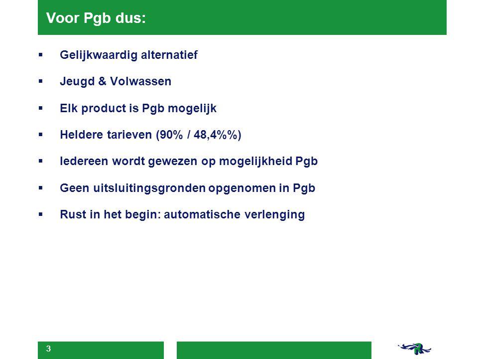 3 Voor Pgb dus:  Gelijkwaardig alternatief  Jeugd & Volwassen  Elk product is Pgb mogelijk  Heldere tarieven (90% / 48,4%)  Iedereen wordt geweze