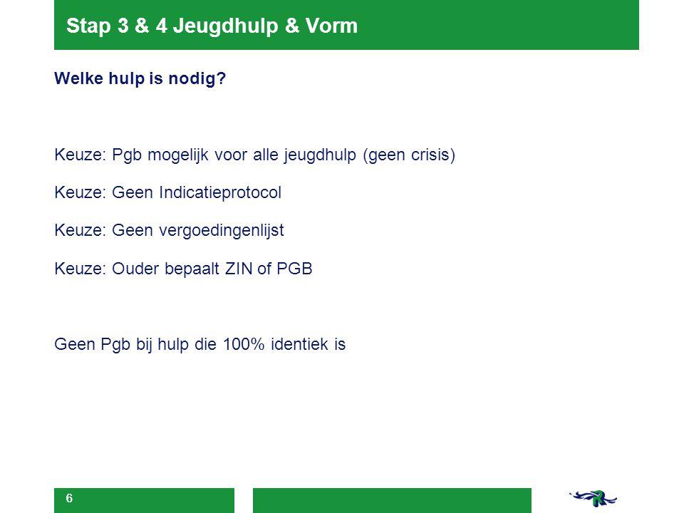 6 Stap 3 & 4 Jeugdhulp & Vorm Welke hulp is nodig? Keuze: Pgb mogelijk voor alle jeugdhulp (geen crisis) Keuze: Geen Indicatieprotocol Keuze: Geen ver
