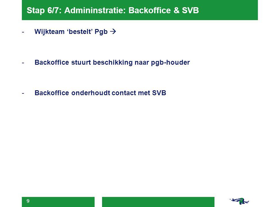 9 Stap 6/7: Admininstratie: Backoffice & SVB -Wijkteam 'bestelt' Pgb  -Backoffice stuurt beschikking naar pgb-houder -Backoffice onderhoudt contact m