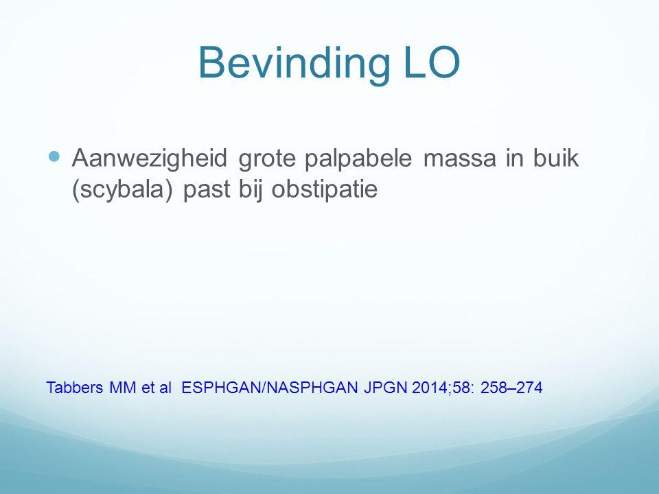 Rectaal toucher bij< 2 criteria Fecale massa past bij obstipatie Lege ampul voegt niks toe