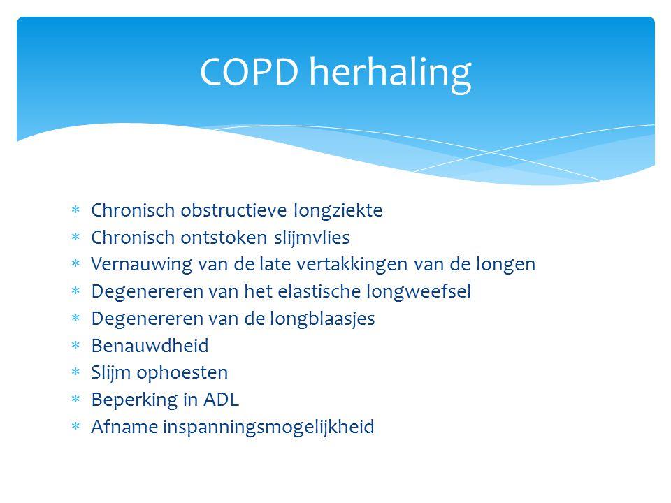  Chronisch obstructieve longziekte  Chronisch ontstoken slijmvlies  Vernauwing van de late vertakkingen van de longen  Degenereren van het elastische longweefsel  Degenereren van de longblaasjes  Benauwdheid  Slijm ophoesten  Beperking in ADL  Afname inspanningsmogelijkheid COPD herhaling
