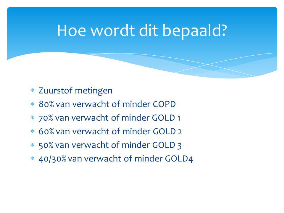  Zuurstof metingen  80% van verwacht of minder COPD  70% van verwacht of minder GOLD 1  60% van verwacht of minder GOLD 2  50% van verwacht of minder GOLD 3  40/30% van verwacht of minder GOLD4 Hoe wordt dit bepaald?