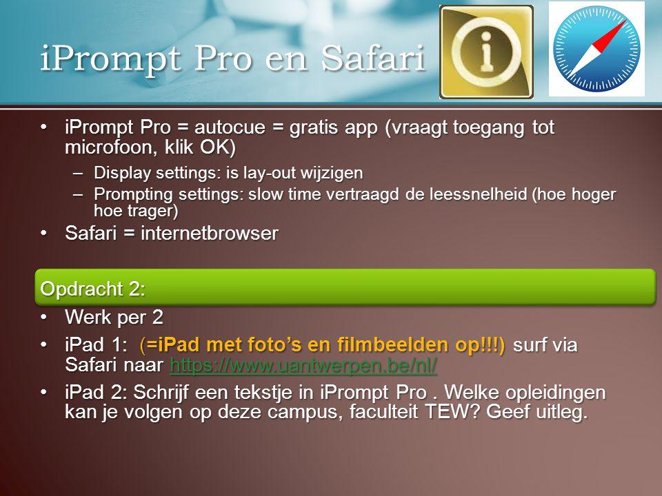 iPrompt Pro = autocue = gratis app (vraagt toegang tot microfoon, klik OK)iPrompt Pro = autocue = gratis app (vraagt toegang tot microfoon, klik OK) –