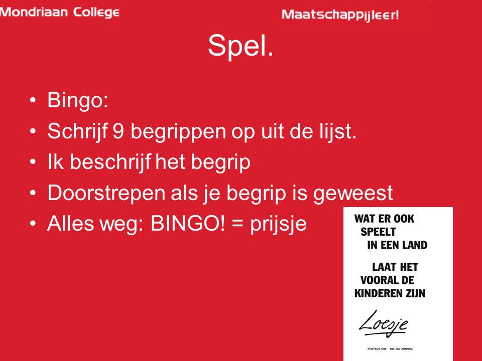 Spel. Bingo: Schrijf 9 begrippen op uit de lijst. Ik beschrijf het begrip Doorstrepen als je begrip is geweest Alles weg: BINGO! = prijsje