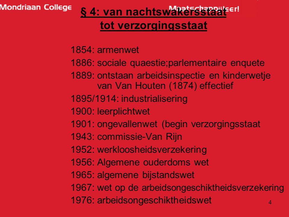 4 1854: armenwet 1886: sociale quaestie;parlementaire enquete 1889: ontstaan arbeidsinspectie en kinderwetje van Van Houten (1874) effectief 1895/1914